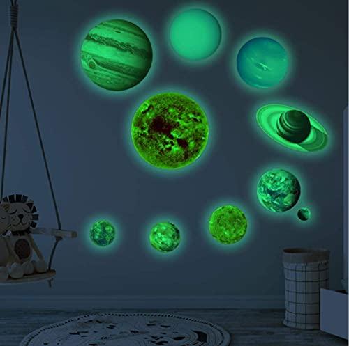 Nueve planetas del sistema solar pegatinas de pared, pegatinas de pared de luna luminosa, pegatinas luminosas dormitorio sala de estar habitación de los niños pegatinas de pared luminosas