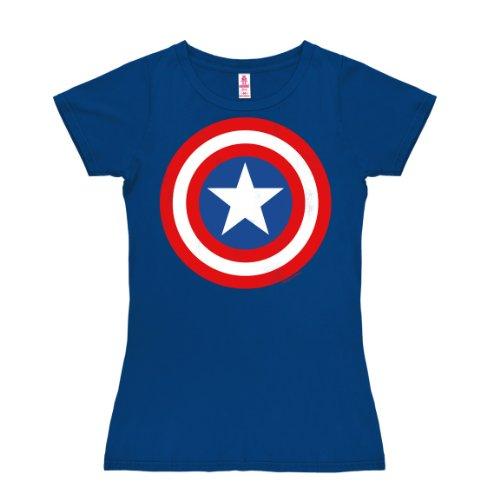 Logoshirt Marvel Captain America Shield - Camiseta de Capitán América de manga...