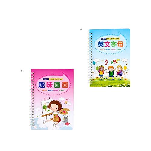 MERIGLARE Juego de 2 Cuaderno de Ejercicios de Práctica de Caligrafía con Diseño de para Niños en Edad Preescolar