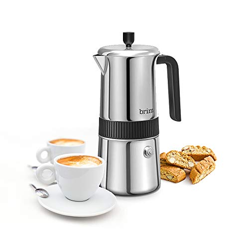 Brim 6 Cup Moka Maker, Perfect Stovetop Espresso Maker, Rich Authentic Italian Espresso in 4-5 Minutes, Ergonomic Cool Touch and Oversized Handle for Easy Use and Safe Pouring, Stainless Steel