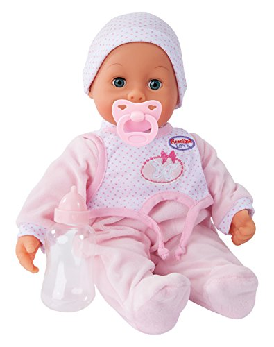 Bayer Design 93885AB Funktionspuppe, Interaktive Puppe, Piccolina Laugh & Cry, mit Flasche und Schnuller, rosa
