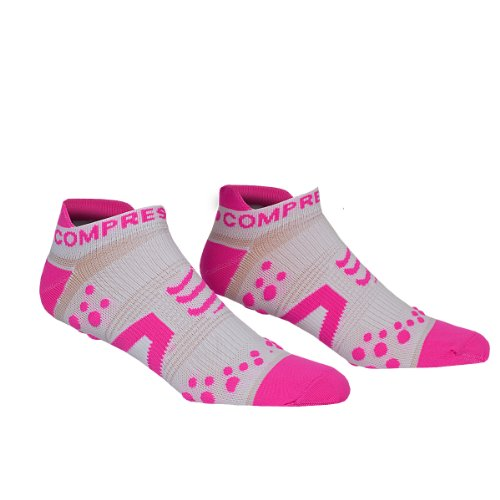 COMPRESSPORT Pro Racing V2 Run Lo - Calcetines para Mujer, Color Blanco/Rosa, Talla FR : XXL (Taille Fabricant : T5)