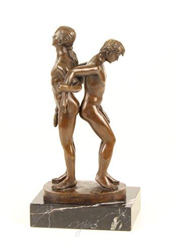 Decoratie Bronzefigur Skulptur Motiv: 2 Männer nackt Akt auf Marmorsockel Bronze Höhe 27 cm