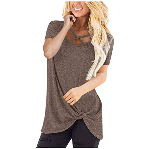 EUZeo-Damen Bekleidung Short Sleeve Shirts for Women Cross Neck T-Shrits Casual Loose Fit Tunic Top Baggy Comfy Blouse