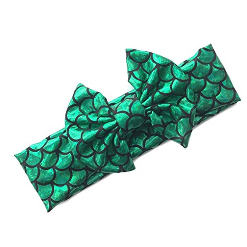 Baby Headband Fish Scales Bowknot Mermaid Turban with Tie Knotted Hair bow Band JB33 (C3)