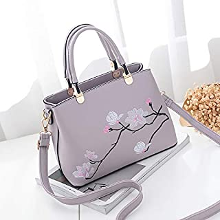 HAWEEL Anti-Theft Classic Retro Messenger Travel Flower Pattern Leisure Fashion PU Slant Shoulder Bag Handbag(Black) Sling Crossbody Mini Purse One Size