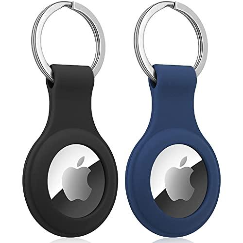 Klatovi Airtag Compatibile Apple 2021 Portachiavi in Silicone,Cover Custodia Protettiva Morbida e Flessibile,Mantiene...