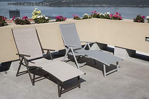 Kozyard Cozy Aluminum Beach Yard Pool Folding Reclining Adjustable Chaise Lounge Chair (1 Pack, Beige)