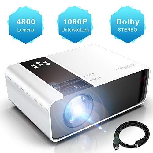 WayGoal Mini Beamer Full HD 1080p Unterstützt tragbarer LED Video Projektor 4800 Lumen und 200 Display, Heimkinobeamer Kompatibel mit USB/ST/AV/VGA/IOS/Android