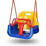 Hengda Babyschaukel, Kinderschaukel, Spielzeug Schaukel für Kinder 3 in 1, mit Rückenlehne und Anschnallgurt, für Indoor Outdoor