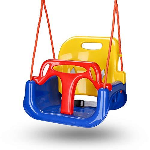BMOT Altalena Colorata 3 in 1 Seggiolino Bambini in Plastica Sedile Regolabile per Altalena Giocattolo da Giardino per Bambini