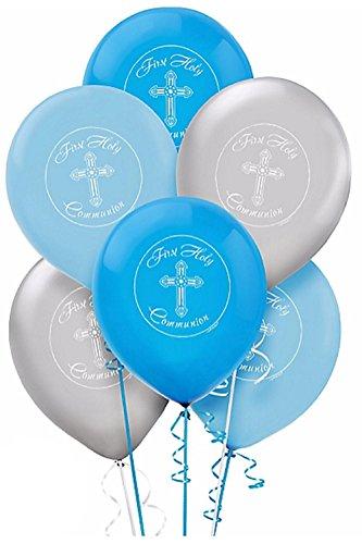 Amscan Globo de látex para niños de primera comunión azul y plateado (paquete de valor: 30 unidades)
