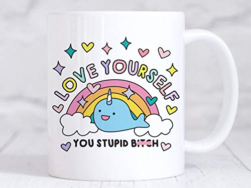 Taza de cerámica para café, té o café, diseño motivador con texto en inglés 'Love Yourself' impreso en ambos lados para sus hombres, mujeres, oficina, papá, mamá, niños, regalos personalizados