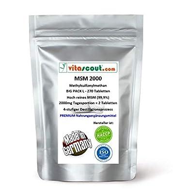 MSM - Methylsulfonylmethan - 270 Tabletten - 2000mg Tagesportion (=2 Tabletten) - 99,9% Reinheit - LABORGEPRÜFT - MADE IN GERMANY - hochdosiert