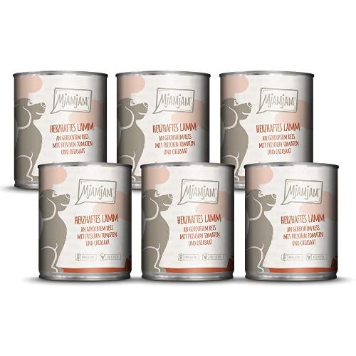 MjAMjAM - Premium Nassfutter für Hunde - herzhaftes Lamm an gekochtem Reis mit frischen Tomaten, 6er Pack (6 x 800 g), naturbelassen mit extra viel Fleisch