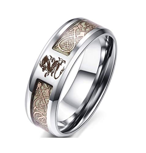 Blowin 8mm Golden Celtic Dragon Luminous Ring Aurora Glow Stainless Steel Wedding Band for Men Women (Size 14)