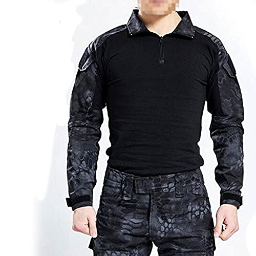 Herren BDU Camouflage-Oberteil, langärmlig, mit Ellenbogenschoner, für taktische Militärspiele / Airsoft / Paintball Größe L Typhon Kryptek
