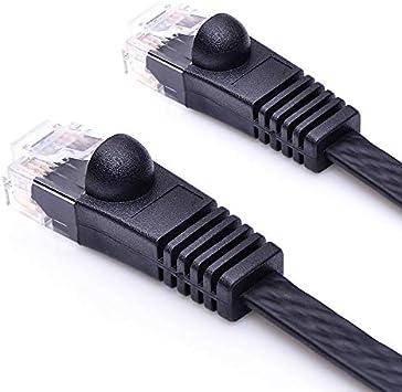 Cables 0.5m//1m//2m//3m//5m Super Flat CAT6 Bare Copper Ethernet Network Patch Cord Black Color Cable Length: 50cm