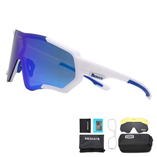 BRZSACR Occhiali Ciclismo Polarizzati Anti-UV con 3 Lenti intercambiabili,Per il ciclismo,l'escursionismo,lo sci,la pesca,ecc.Leggero Resistente (blue bianco)