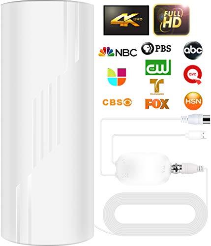 2021 Aktualisierung TV Antenne,Drinnen Draußen Abnehmbar DVB-T2/DVB-T Antenne,320KM Reichweite Digitale TV Antenne Smart Signalverstärker,für 1080P 4K Kostenlose TV-Kanäle,mit 10M Langem Koaxialkabel