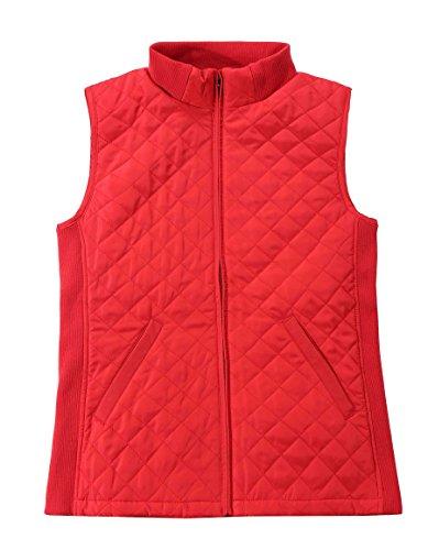 Bienzoe Mujer Casual Acolchado Ligero Chaleco Rojo M