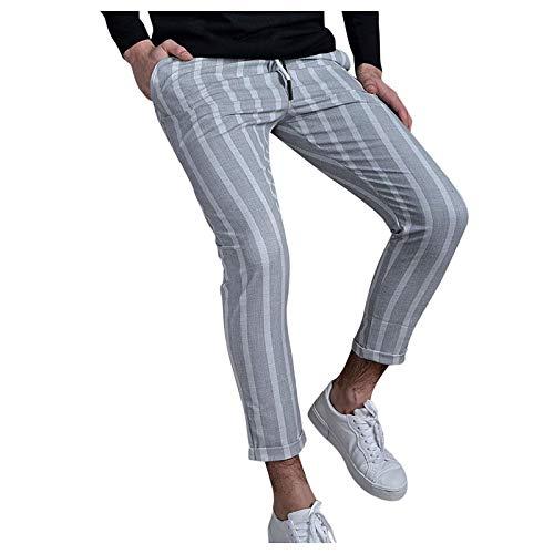 Slim fit Chinohose Herren Chino Hose mit Streifen Lange Sweatpants Jogger Männer Freizeithose Streifen Druck Männerhose Straight Man Pants Bequeme Regular Fit Stoffhose