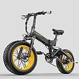 LANKELEISI X3000 1000 W/500 W 48 V 14 Ah 20 x 4.0 Fat Tire Bicicleta eléctrica de montaña plegable bicicleta de nieve bicicleta eléctrica para adultos (amarillo, 1000 W)
