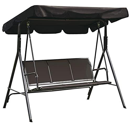Loywe Hollywoodschaukel Gartenschaukel Gartenliege Schaukelbank 3-Sitzer mit abnehmbarem und verstellbares Sonnendach Schwarz 170x110x153cm LW64S