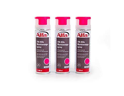 Markierungsspray 3 x neon-pink 500 ml Markierspray in Neonfarbe für präzise und saubere Markierungen