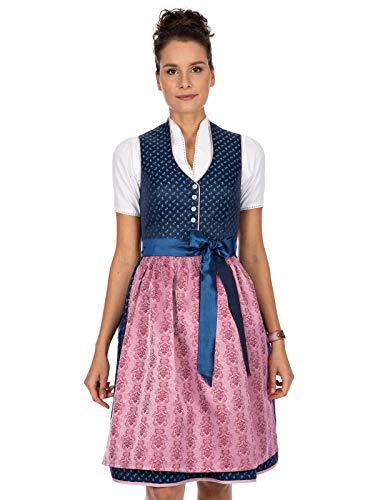 Stockerpoint Damen Dirndl Cynthia Kleid für besondere Anlässe, blau-Rose, 48