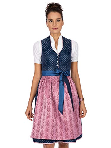 Stockerpoint Damen Dirndl Cynthia Kleid für besondere Anlässe, blau-Rose, 46