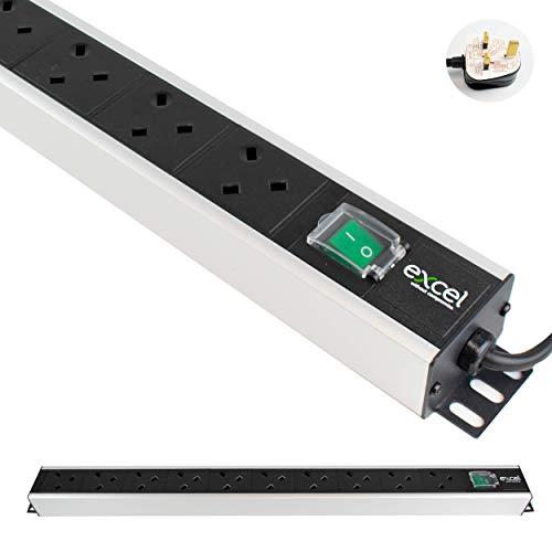 I-CHOOSE LIMITED Unidad De Distribución Energía PDU Montaje En Rack 0U y 10 Vías | Vertical | Enchufes del Reino Unido | Reino Unido BS1363 Enchufe | Cable de 3 m