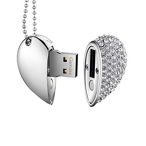 Garrulax USB Stick, Premium USB 2.0, Diamant Herzform 8GB / 16GB / 32GB / 64GB USB-Flash-Laufwerk Wasserdicht Memory Stick Speicherstick High Speed Übertragung