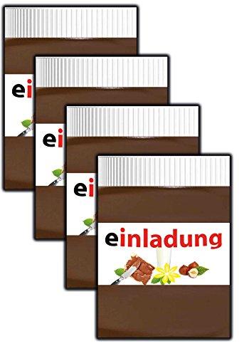 Einladungskarten Kindergeburtstag Jungen Mädchen cool Schokolade ausgefallen Schokocreme - 10 Stüc Cupcake Kekse Lolli Melone Ananas Flamingo Muffins