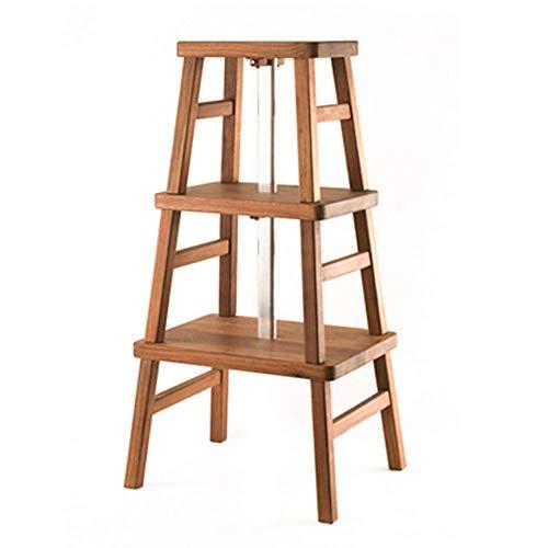 ZGYQGOO - Banco zapatero con escalera, multifunción, de madera maciza combinada, resistente, desmontable, 2 colores, 3 estilos (color: nogal claro, talla: A)