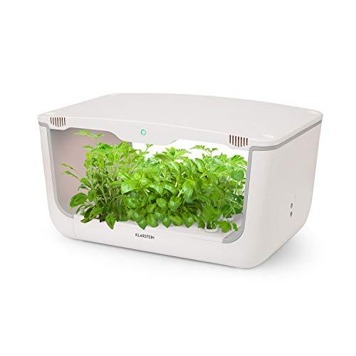 KLARSTEIN GrowIt Farm - Smart Indoor Garden, Giardino Idroponico, Set 36 Pezzi, Fino a 28 Piante in 25-40 Giorni, 20 a 28 ° C, Illuminazione a LED da 48 Watt, Serbatoio Acqua 8 L, Bianco