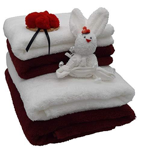 Frotteebox Set 5-teilig 2X Duschtuch (140x70cm), 2X Handtuch (100x50cm), 500g/qm + 1x Schwarzwald Deko Hase aus Waschhandschuh geformt (dunkelrot+weiß)