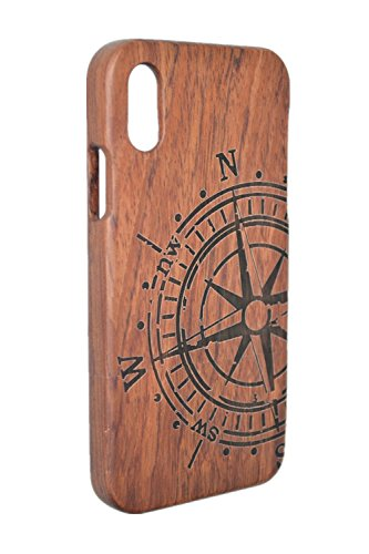 PhantomSky Wooden Protection Case Compatible for iPhone XR(6.1 inch), Heavy Duty Shockproof Quality Handmade Natural Wood Cover iPhone XR - Rosewood Compass