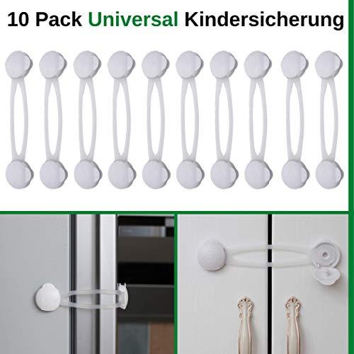 Universal Kindersicherung im 10er Pack, Multifunktionssicherung zum Kleben, Sicherung von Schubladen, Schränke, WC, Mülleimer, Mikrowelle, Kühlschrank, Babysicherung ab den ersten Schritten, weiß