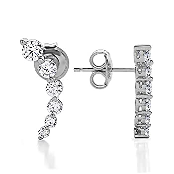TwoBirch 925 Sterling Silver Earring Crawler Ear Climber Cubic Zirconia Earrings