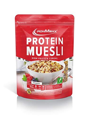 IronMaxx Protein Müsli Erdbeere – Veganes Fitness Müsli laktosefrei und glutenfrei – Eiweiß Müsli mit Erdbeergeschmack – 1 x 550 g