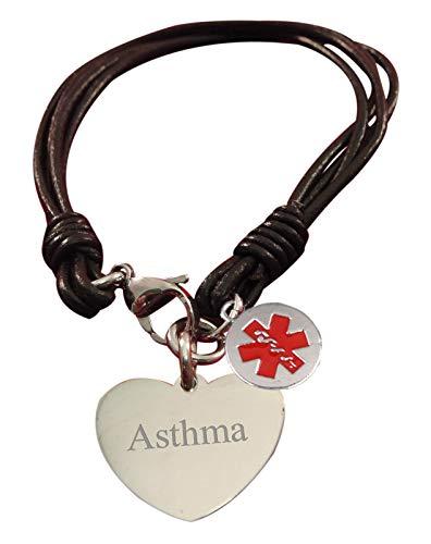 Luxury Engraved Gifts UK Asthma Womens Medic Alert Medical Heart Bracelet - brh
