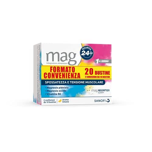 Mag Ricarica 24 Ore Integratore Alimentare Contro la Stanchezza a Base di Sali di Magnesio Pidolato e Magnesio Ossido, con Vitamina B6 - 10+10 Bustine