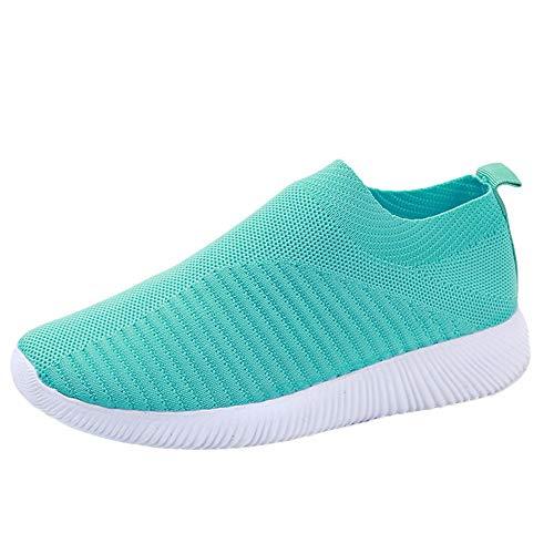 YWLINK Damen Socken Schuhe Outdoor Schuhe Freizeit Slip On Bequeme Sohlen Sports Licht Atmungsaktiv Mesh Sneakers Laufschuhe Turnschuhe Fitnessschuhe Bequeme Schuhe(Grün,37 EU)