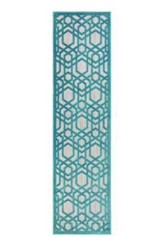 Rugs With Flair Moderna Alfombra para Interiores y Exteriores Piatto Oro Flatweave, Color Azul Mate 66 x 300 cm