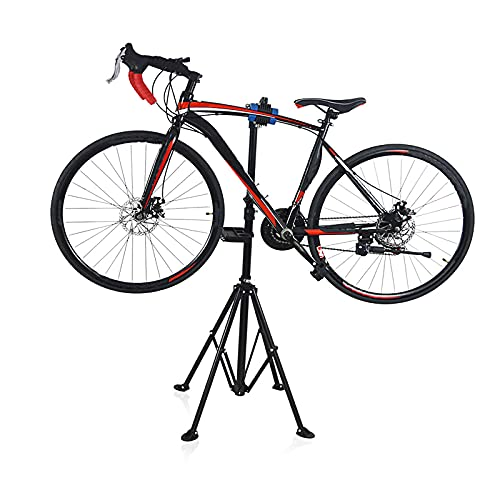 XYZCUP Soporte Bicicletas Suelo, Ajustable Estabilidad Triangular Soporte Bicicleta, con Caja de Almacenamiento de Herramientas Portátil Soporte para Bicicletas Ajustable hasta 74cm
