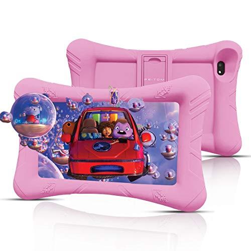 Pritom Kids Tablet, 32 GB ROM,Procesador Quad Core, Pantalla HD IPS,WiFi 7 Pulgadas Android Tablet,Control Parental,Tablet for Kids (Pink)