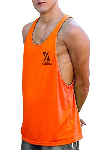 Vibrha Camiseta Deportiva Sin Mangas Flúor De Hombre - Camiseta Fitness De Tirantes Sisa Ancha Bodybuilding Gym (Naranja, M)