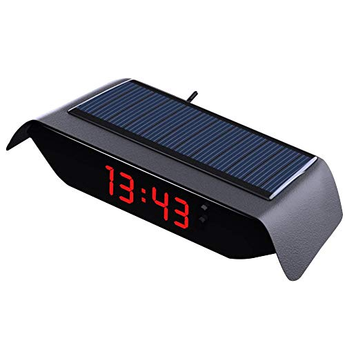 lembrd Solar Auto Uhr 4 In 1 Elektronisches Thermometer LED Hochpräzise Armaturenbrett Uhr Datum Zeit Temperatur Solar USB Wiederaufladbar Dekoration für SUV MPV