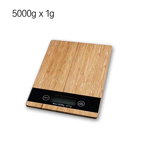 bxnend Digitale keukenweegschaal, 5 kg/1 g, hout, LED, elektronische weegschaal, levensmiddelen, meetgewicht, keuken, LED elektronische weegschaal
